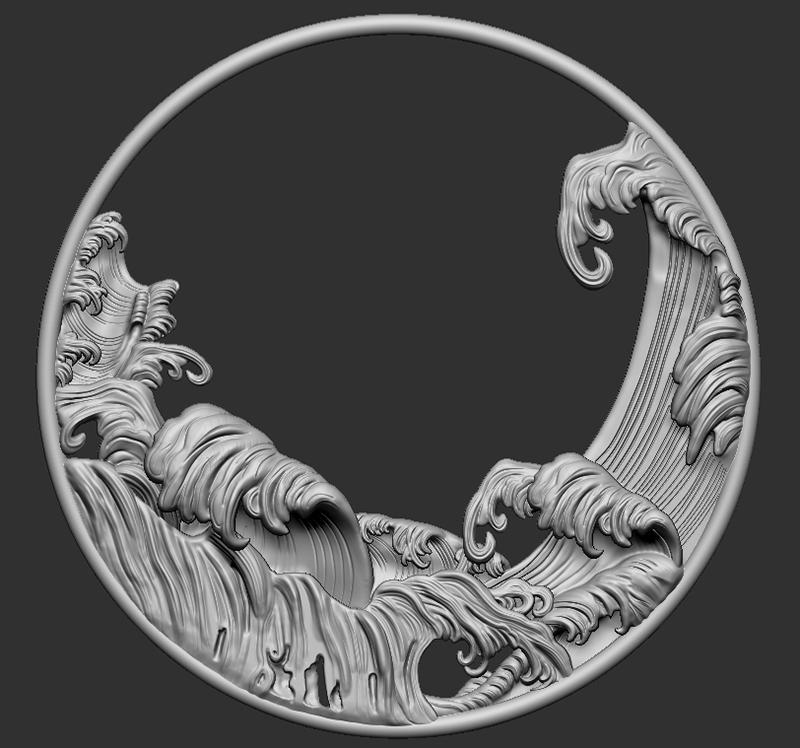 立体浮雕波浪圆形挂环模型1.jpg