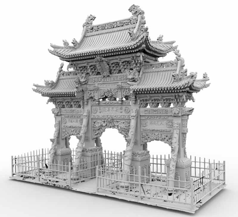 纯几何模型中龙泉寺牌坊的第一个3D模型。.jpg