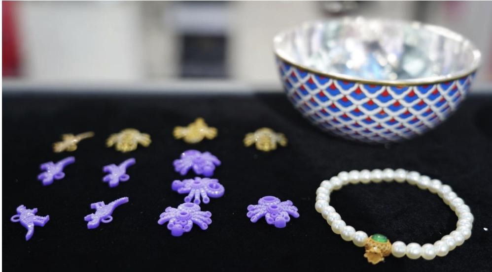 动物吊坠、景泰蓝彩碗及沙金珍珠手链